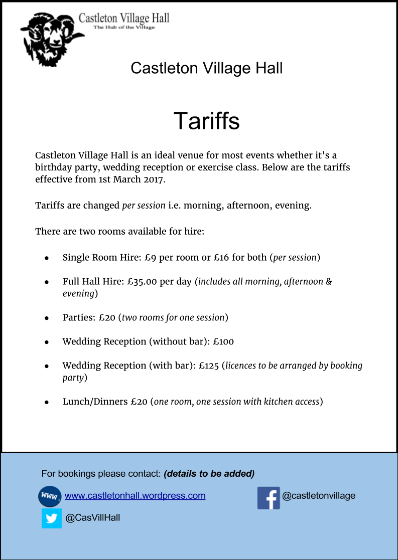 Tariff Poster March 2017